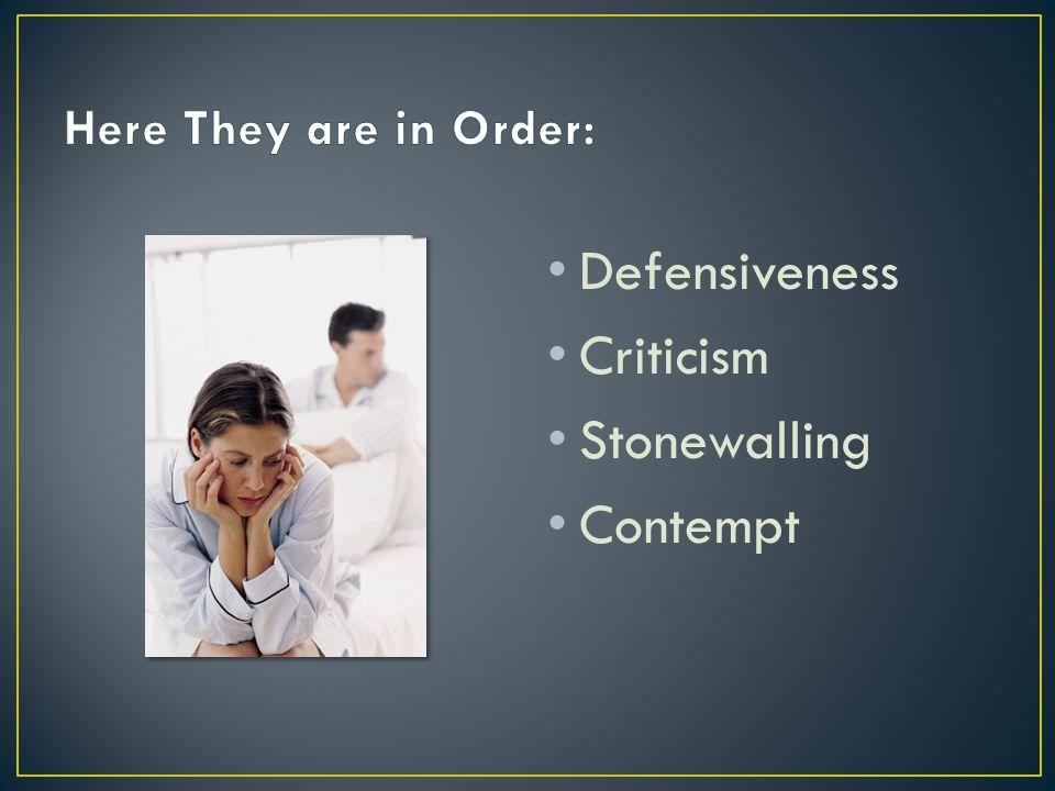 Defensiveness Criticism Stonewalling Contempt