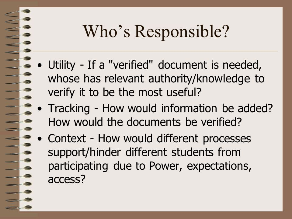 Who's Responsible? Utility - If a