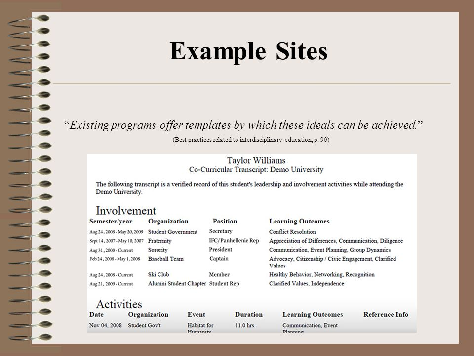 Example Sites Existing programs offer templates by which these ideals can be achieved. (Best practices related to interdisciplinary education, p.