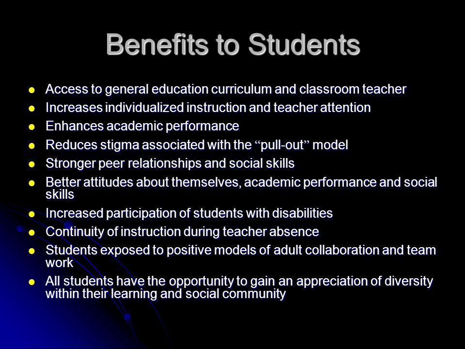 Benefits to Teachers Opportunity for professional growth through the sharing of knowledge, skills, and resources ie.