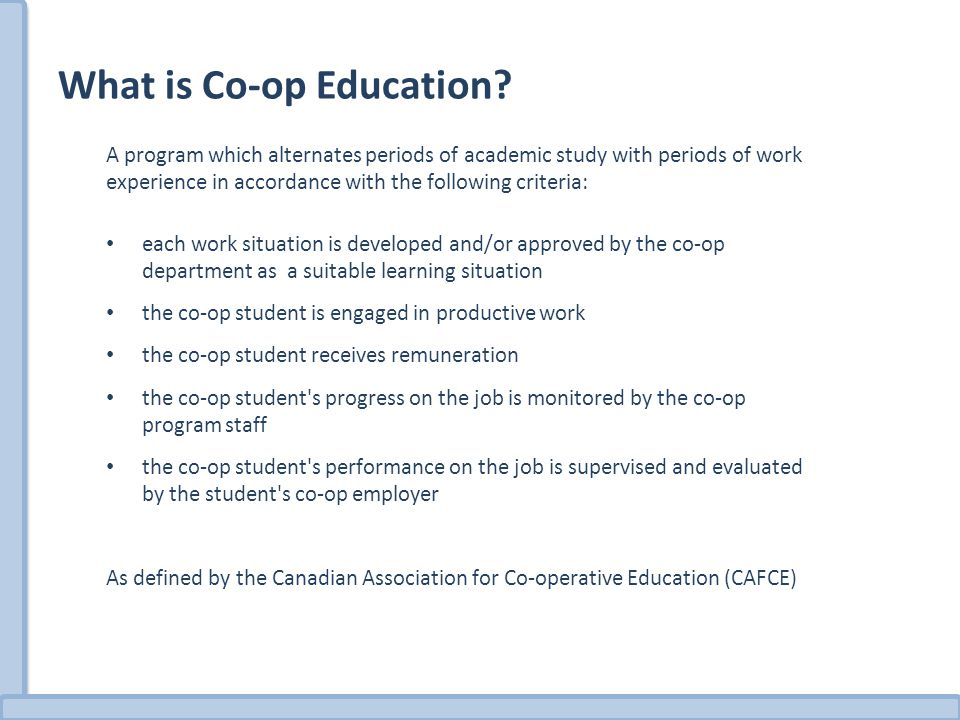 What is Co-op Education.