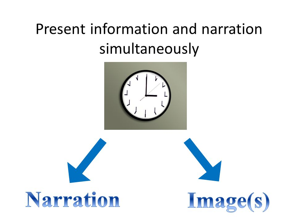 Present information and narration simultaneously