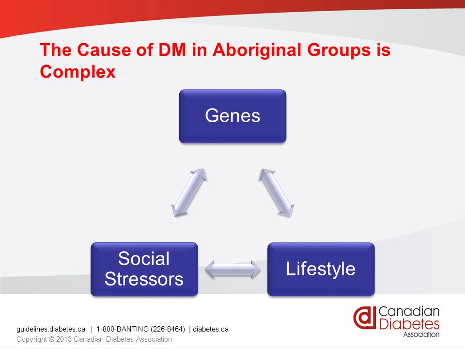 guidelines.diabetes.ca | 1-800-BANTING (226-8464) | diabetes.ca Copyright © 2013 Canadian Diabetes Association The Cause of DM in Aboriginal Groups is
