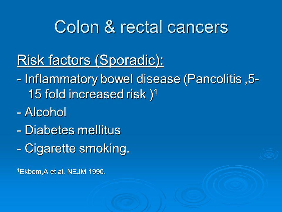 Colon & rectal cancers Risk factors (Sporadic): - Inflammatory bowel disease (Pancolitis,5- 15 fold increased risk ) 1 - Alcohol - Diabetes mellitus - Cigarette smoking.