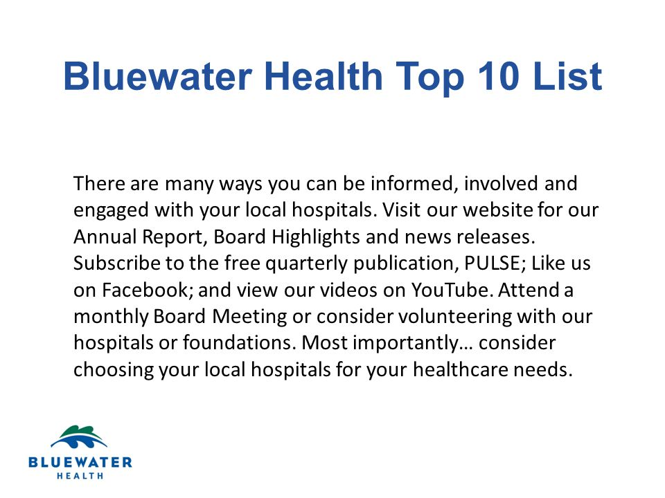 There are many ways you can be informed, involved and engaged with your local hospitals.