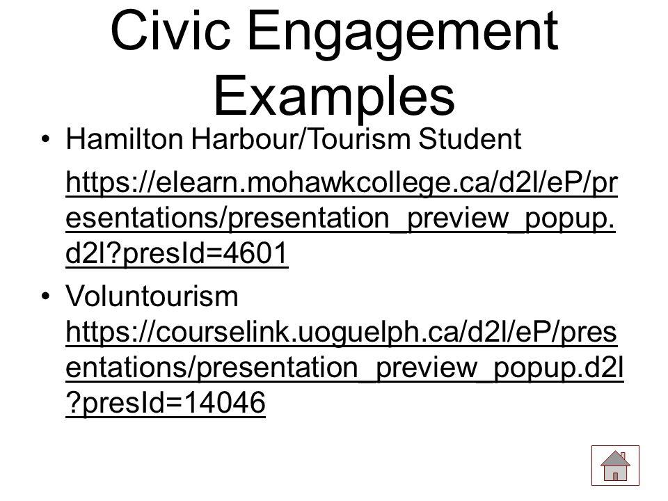 Civic Engagement Examples Hamilton Harbour/Tourism Student https://elearn.mohawkcollege.ca/d2l/eP/pr esentations/presentation_preview_popup.