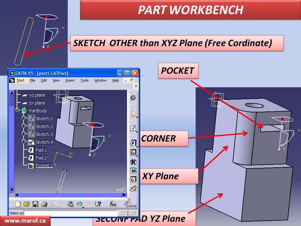 SECONF PAD YZ Plane FIRST PAD XY Plane POCKET CORNER PART WORKBENCH SKETCH OTHER than XYZ Plane (Free Cordinate)