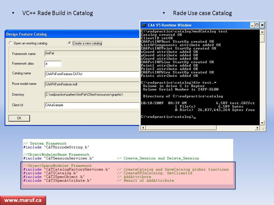VC++ Rade Build in Catalog Rade Use case Catalog