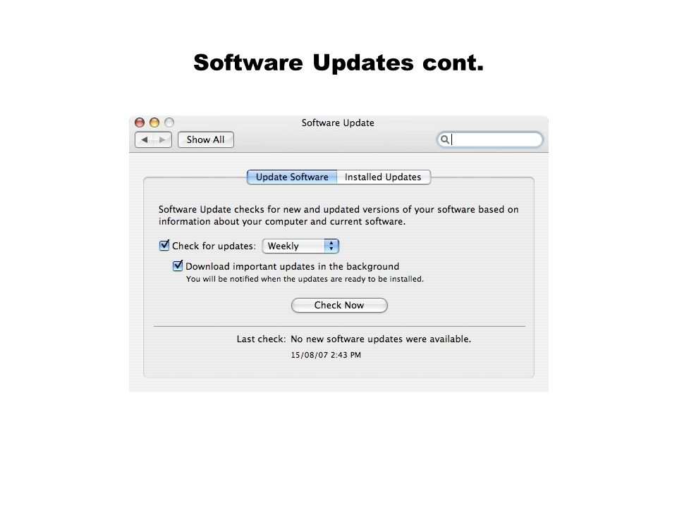 Software Updates cont.