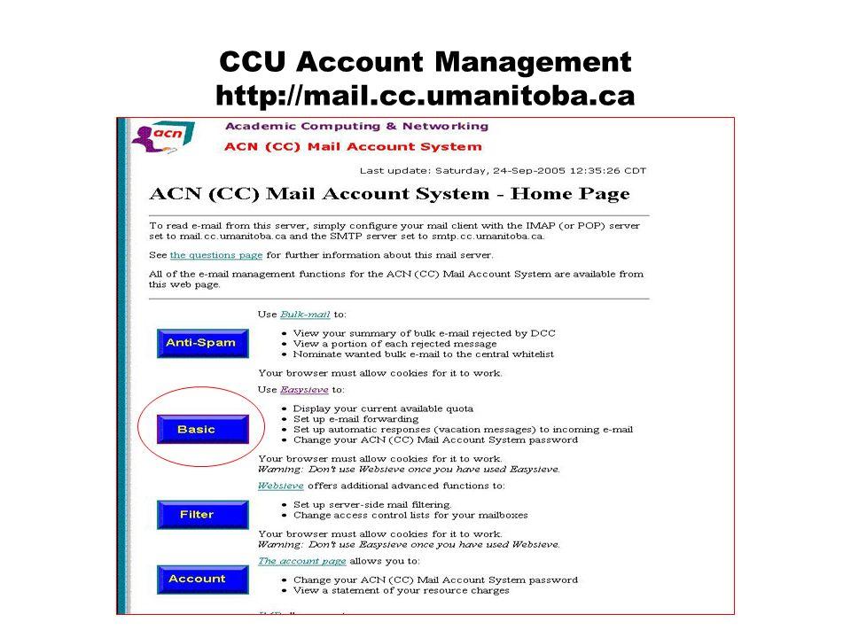CCU Account Management http://mail.cc.umanitoba.ca