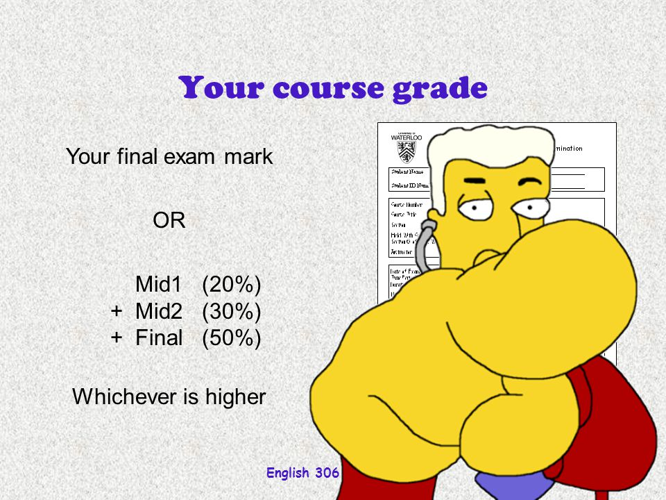 English 306A; Harris Your course grade Your final exam mark OR Mid1(20%) +Mid2(30%) +Final(50%) Whichever is higher