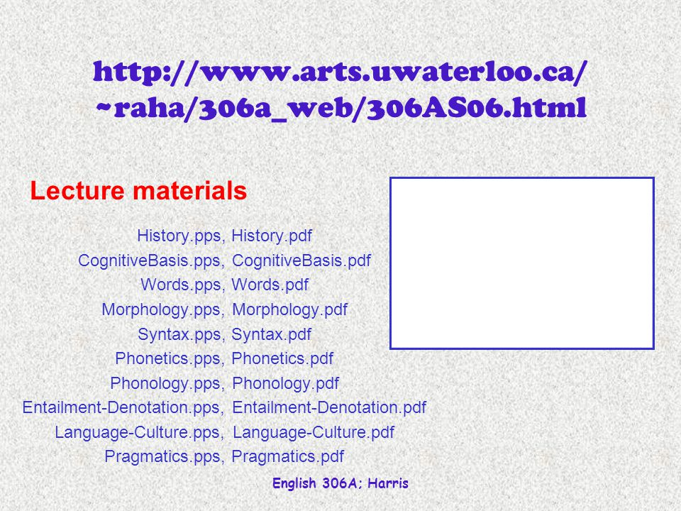 English 306A; Harris http://www.arts.uwaterloo.ca/ ~raha/306a_web/306AS06.html History.pps, History.pdf CognitiveBasis.pps, CognitiveBasis.pdf Words.pps, Words.pdf Morphology.pps, Morphology.pdf Syntax.pps, Syntax.pdf Phonetics.pps, Phonetics.pdf Phonology.pps, Phonology.pdf Entailment-Denotation.pps, Entailment-Denotation.pdf Language-Culture.pps, Language-Culture.pdf Pragmatics.pps, Pragmatics.pdf Lecture materials