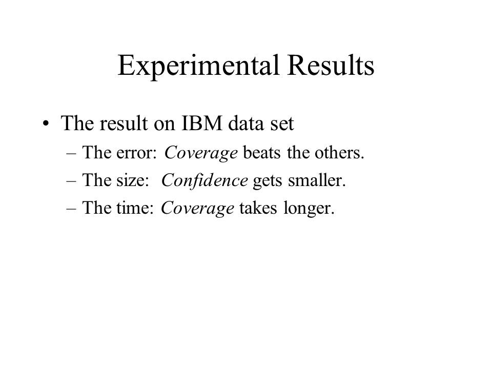 Experimental Results The result on IBM data set –The error: Coverage beats the others.