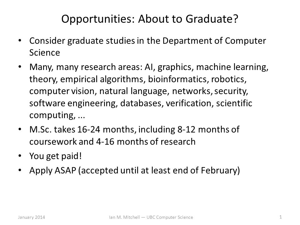Opportunities: About to Graduate.