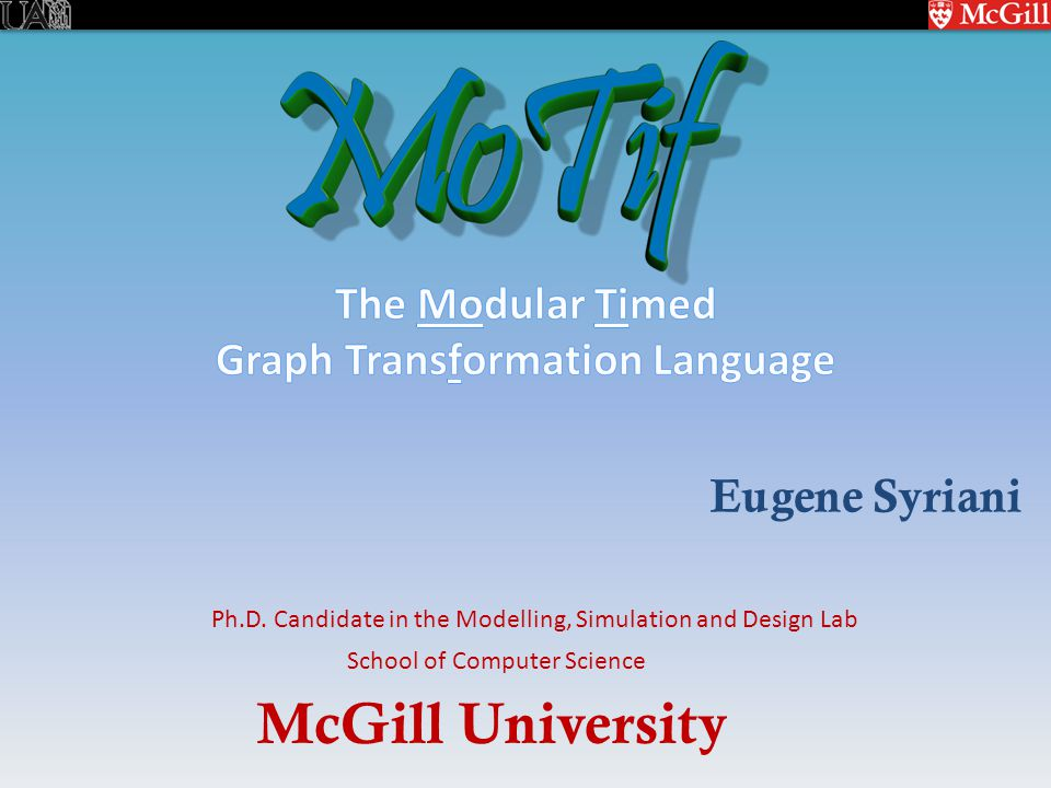 McGill University School of Computer Science Ph.D.