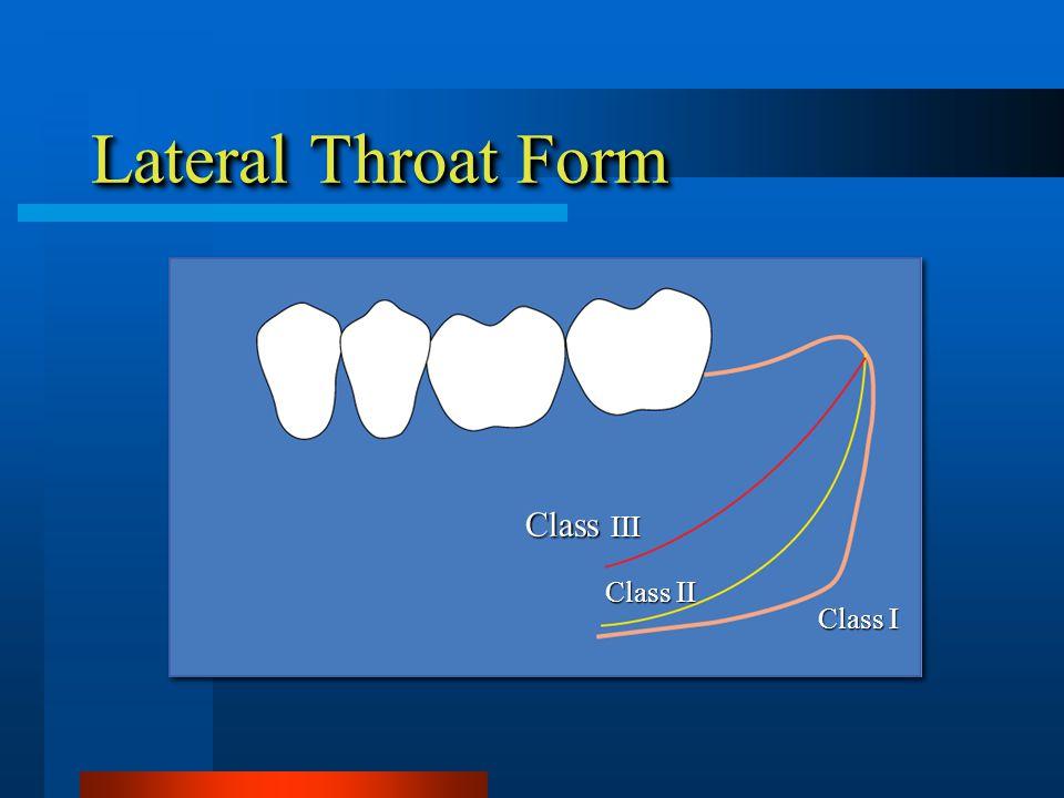 Lateral Throat Form Class III Class I Class II