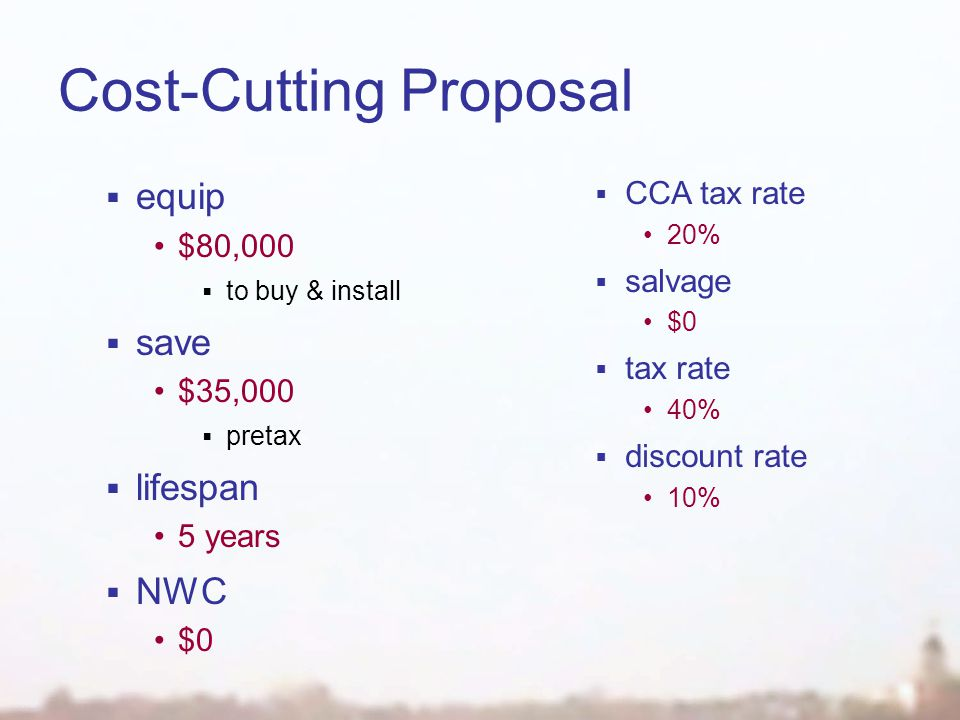 Cost-Cutting Proposal  equip $80,000  to buy & install  save $35,000  pretax  lifespan 5 years  NWC $0  CCA tax rate 20%  salvage $0  tax rate 40%  discount rate 10%