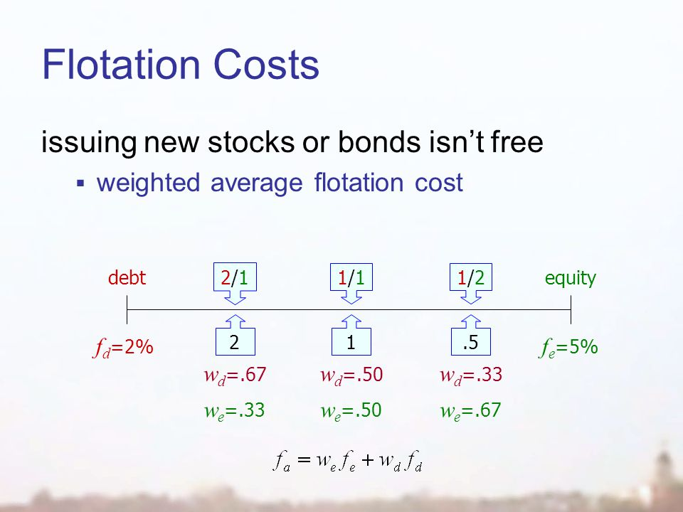 Flotation Costs issuing new stocks or bonds isn't free  weighted average flotation cost f d =2% debt f e =5% equity 1/21/2.5 1/11/1 1 2/12/1 2 w d =.50 w d =.33 w d =.67 w e =.50 w e =.67 w e =.33
