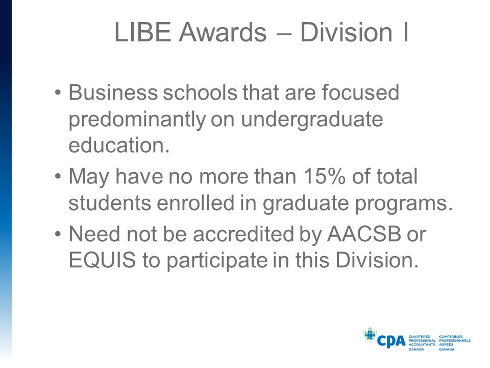 LIBE Awards – Division I Business schools that are focused predominantly on undergraduate education.