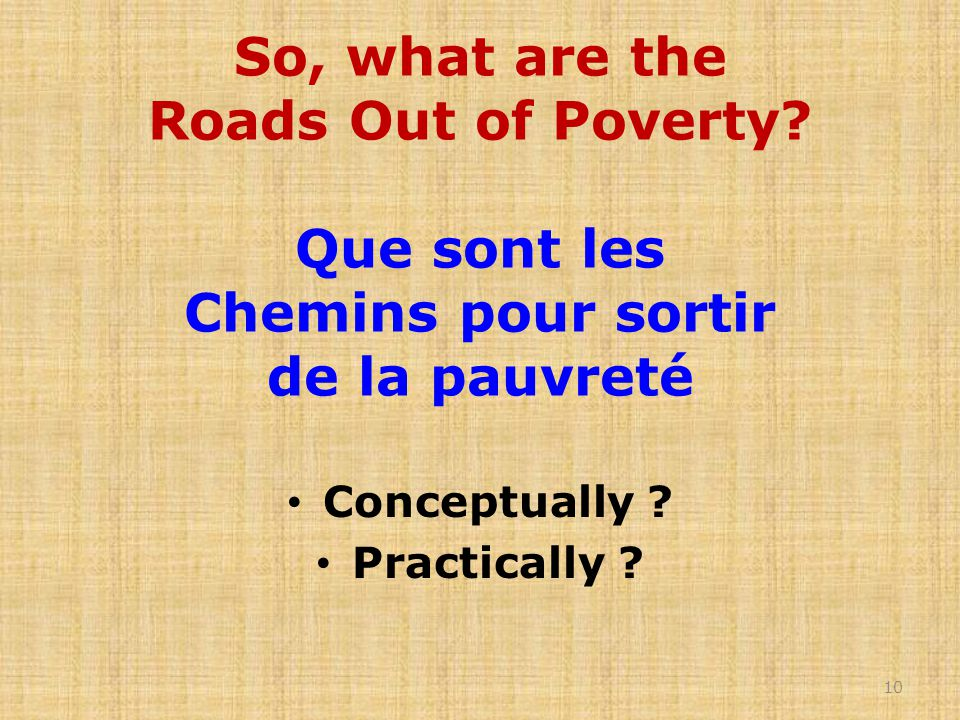 So, what are the Roads Out of Poverty.
