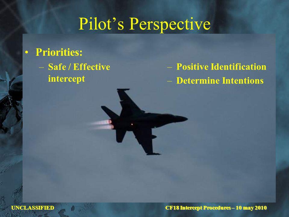 UNCLASSIFIED Pilot's Perspective Priorities: –Safe / Effective intercept –Positive Identification –Determine Intentions CF18 Intercept Procedures – 10