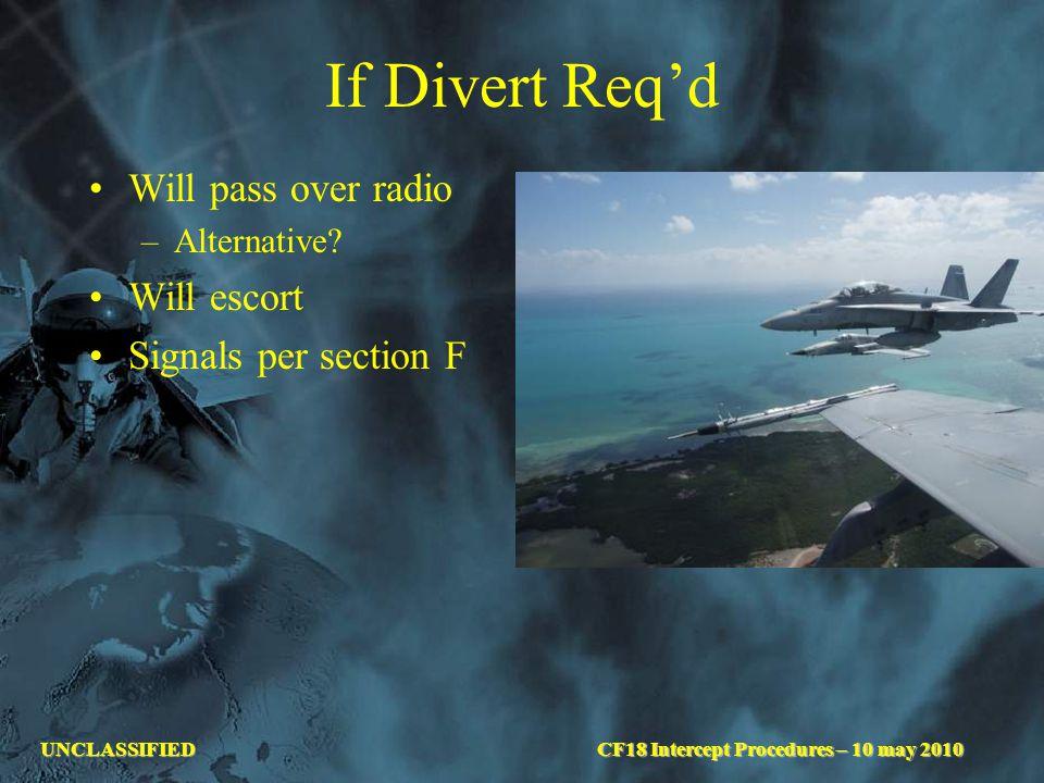 UNCLASSIFIED If Divert Req'd Will pass over radio –Alternative? Will escort Signals per section F CF18 Intercept Procedures – 10 may 2010