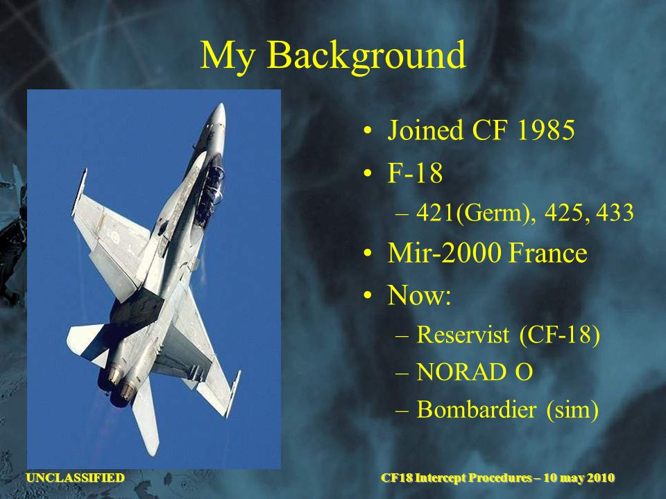 UNCLASSIFIED My Background Joined CF 1985 F-18 –421(Germ), 425, 433 Mir-2000 France Now: –Reservist (CF-18) –NORAD O –Bombardier (sim) CF18 Intercept