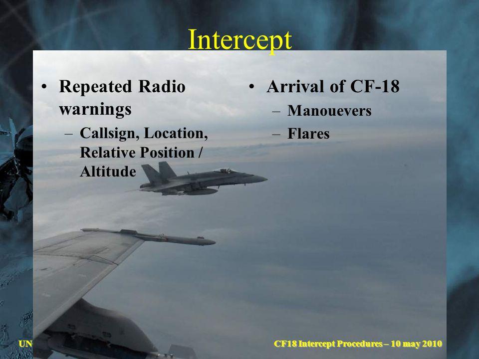 UNCLASSIFIEDCF18 Intercept Procedures – 29 Sep 09 Intercept Repeated Radio warnings –Callsign, Location, Relative Position / Altitude Arrival of CF-18