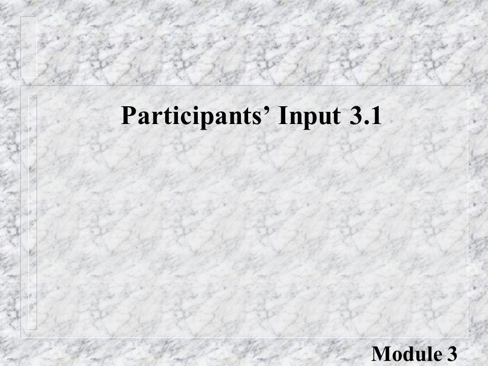 Participants' Input 3.1 Module 3