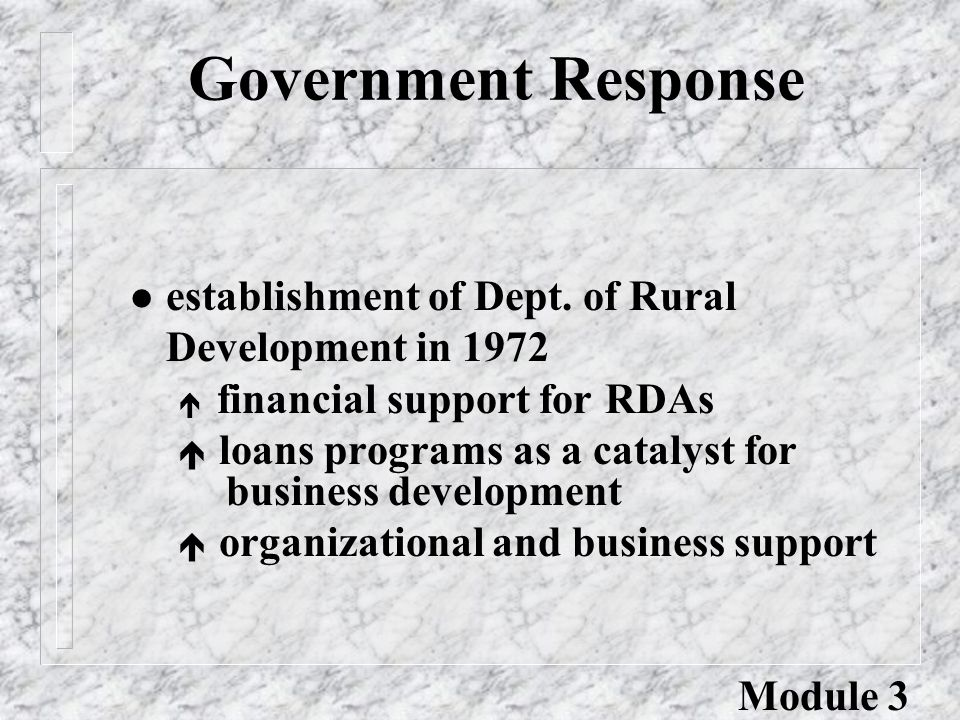 Government Response l establishment of Dept. of Rural Development in 1972 é financial support for RDAs é loans programs as a catalyst for business dev