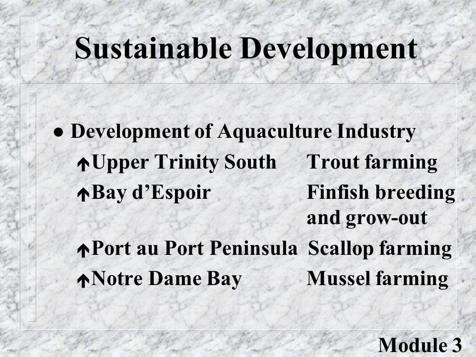 Sustainable Development l Development of Aquaculture Industry é Upper Trinity South Trout farming é Bay d'Espoir Finfish breeding and grow-out é Port au Port Peninsula Scallop farming é Notre Dame Bay Mussel farming Module 3