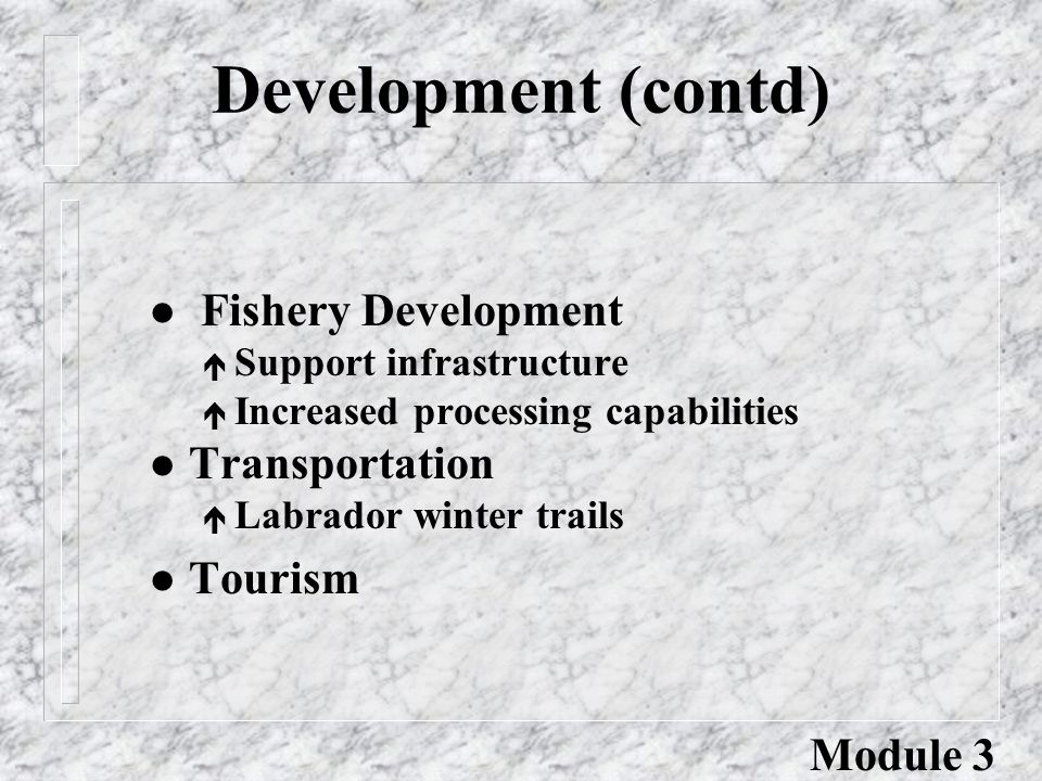 Development (contd) l Fishery Development é Support infrastructure é Increased processing capabilities l Transportation é Labrador winter trails l Tou