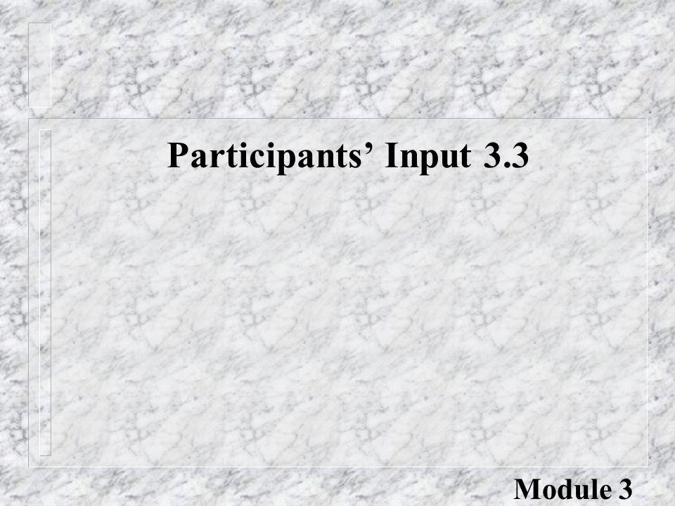 Participants' Input 3.3 Module 3