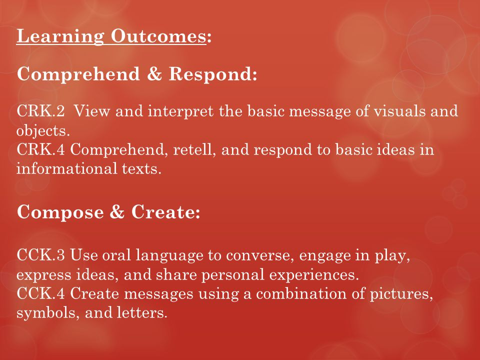 Learning Outcomes: Comprehend & Respond: CRK.2 View and interpret the basic message of visuals and objects.
