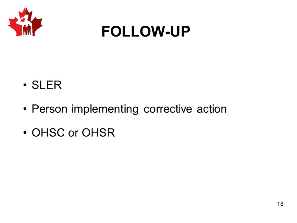 FOLLOW-UP SLER Person implementing corrective action OHSC or OHSR 18