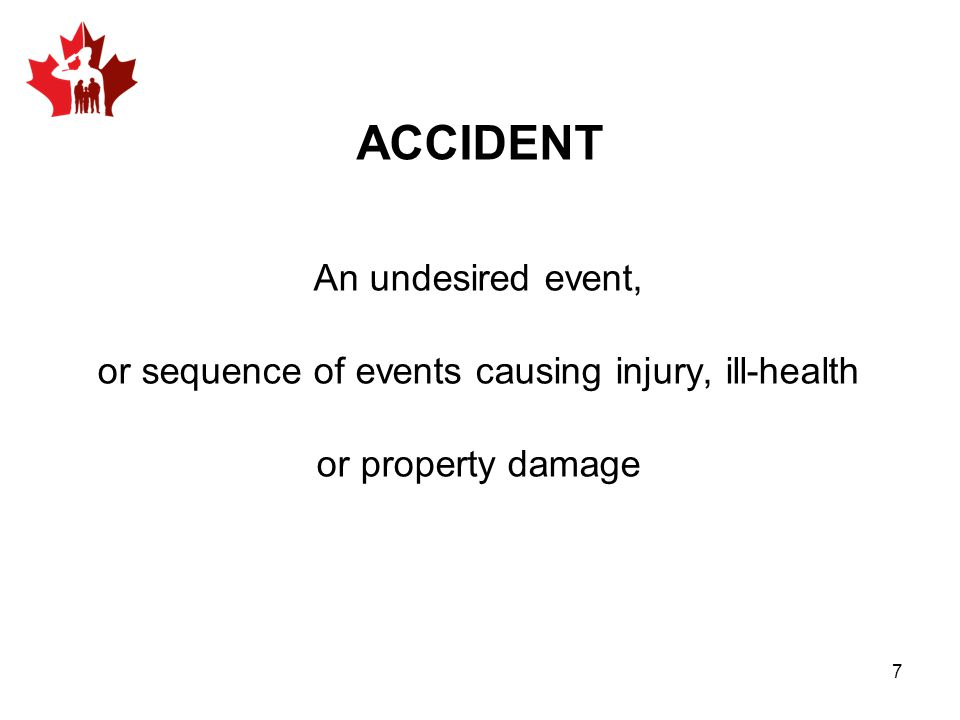 An undesired event, or sequence of events causing injury, ill-health or property damage ACCIDENT 7
