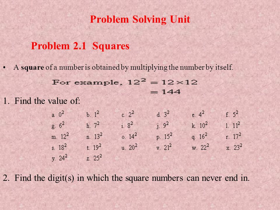Problem Solving Unit A square of a number is obtained by multiplying the number by itself. Problem 2.1 Squares 1. Find the value of: 2. Find the digit