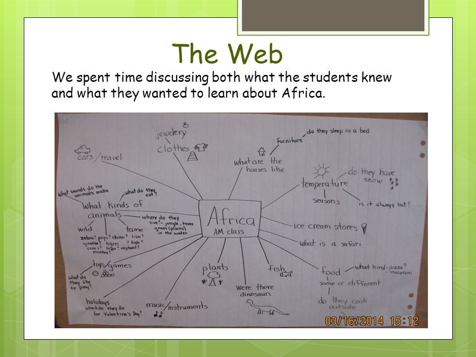 The Web We spent time discussing both what the students knew and what they wanted to learn about Africa.