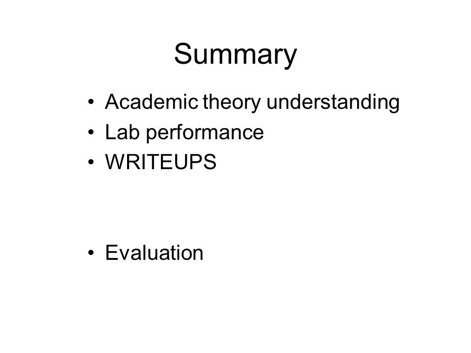 Summary Academic theory understanding Lab performance WRITEUPS Evaluation