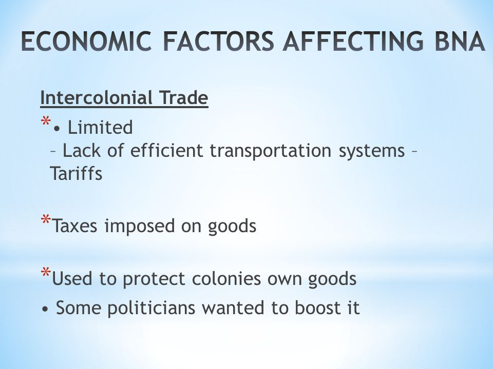 Intercolonial Trade * Limited – Lack of efficient transportation systems – Tariffs * Taxes imposed on goods * Used to protect colonies own goods Some politicians wanted to boost it