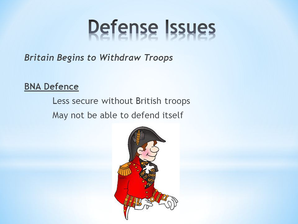 Britain Begins to Withdraw Troops BNA Defence Less secure without British troops May not be able to defend itself
