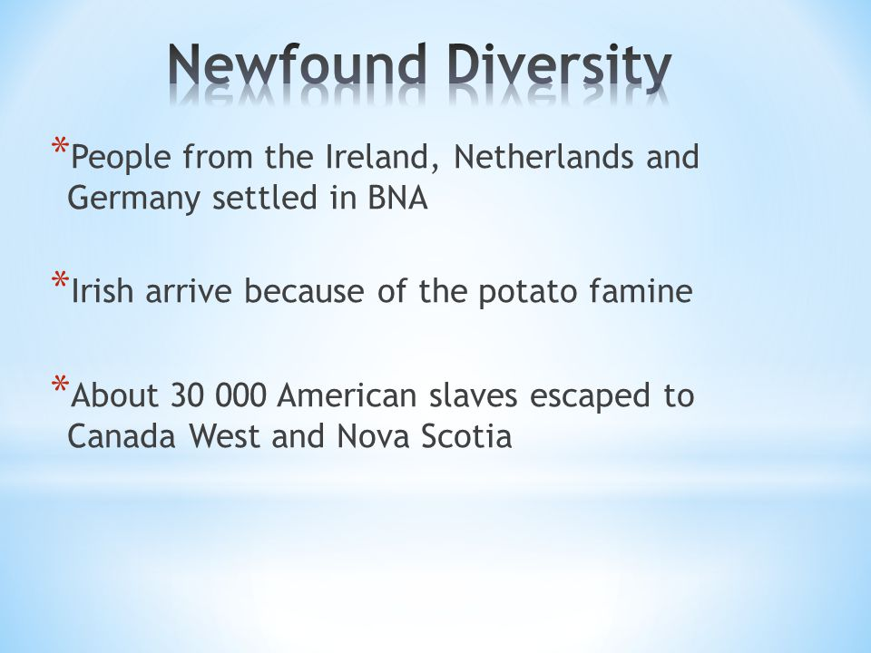 * People from the Ireland, Netherlands and Germany settled in BNA * Irish arrive because of the potato famine * About 30 000 American slaves escaped to Canada West and Nova Scotia