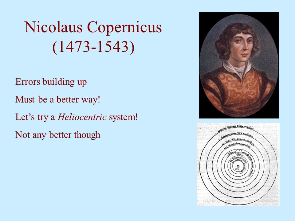 Nicolaus Copernicus (1473-1543) Errors building up Must be a better way! Let's try a Heliocentric system! Not any better though