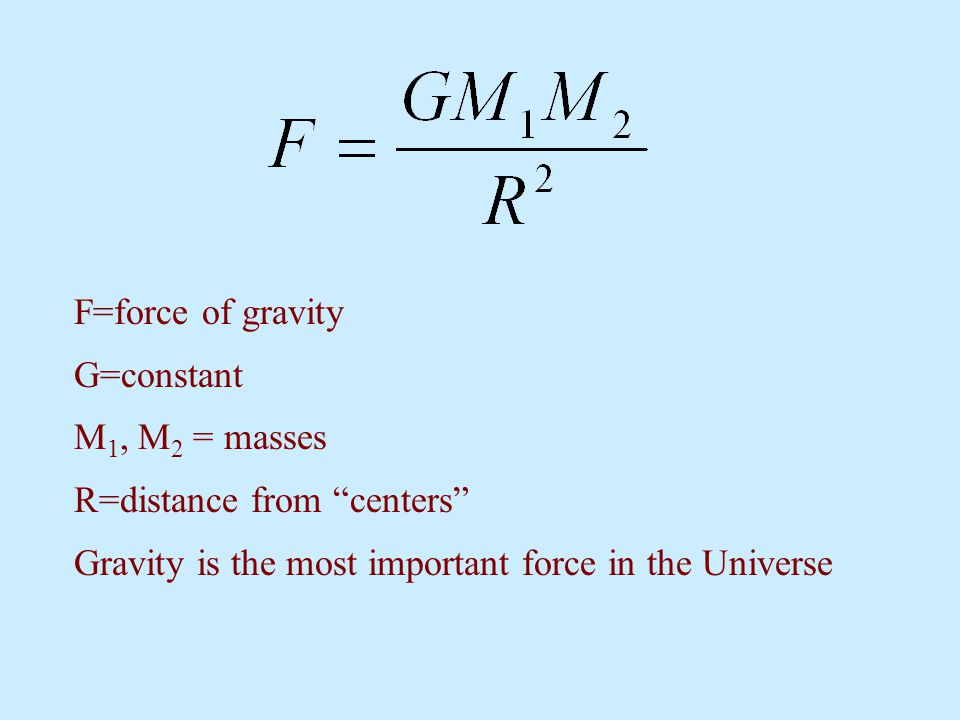 "F=force of gravity G=constant M 1, M 2 = masses R=distance from ""centers"" Gravity is the most important force in the Universe"