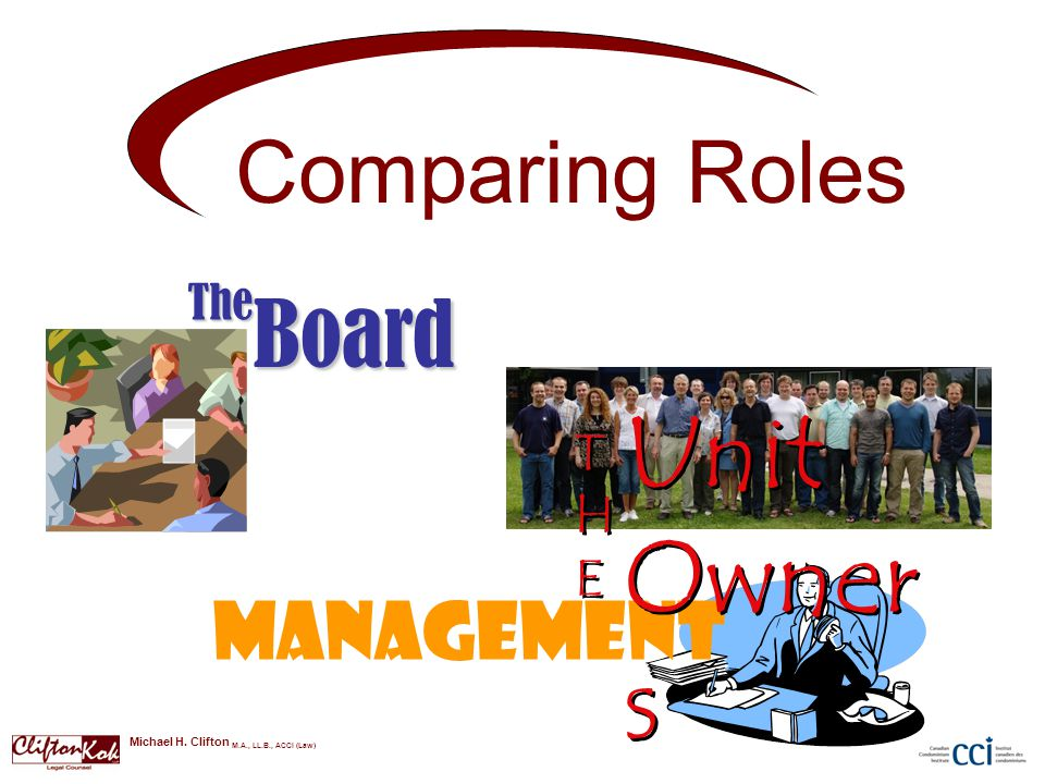 Comparing Roles BoardThe Management Unit Owner s THETHE THETHE Michael H.