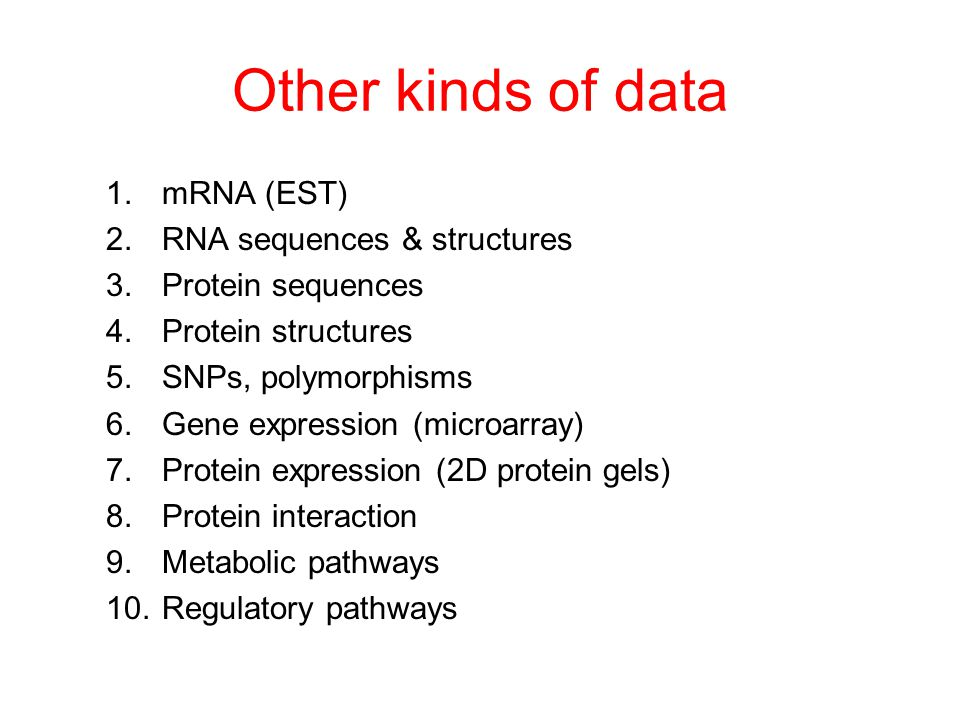 Other kinds of data 1.mRNA (EST) 2.RNA sequences & structures 3.Protein sequences 4.Protein structures 5.SNPs, polymorphisms 6.Gene expression (microarray) 7.Protein expression (2D protein gels) 8.Protein interaction 9.Metabolic pathways 10.Regulatory pathways