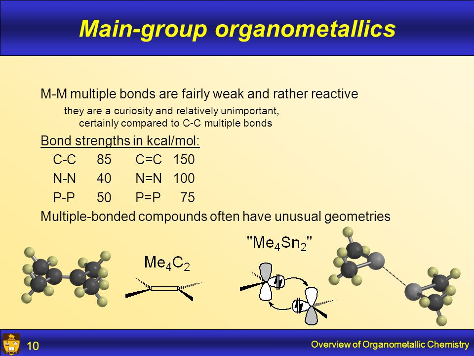 Overview of Organometallic Chemistry 11 Transition-metal organometallics s, p and d orbitals 18-e rule, sometimes 16-e other counts relatively rare 18-e 16-e
