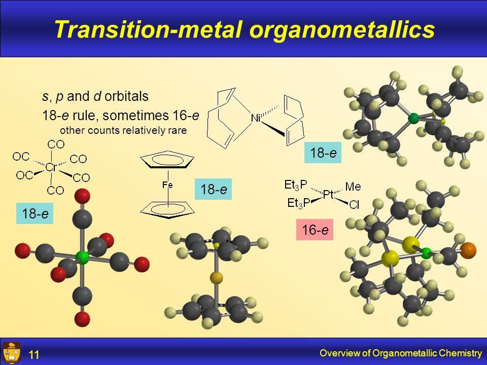 Overview of Organometallic Chemistry 12 Transition-metal organometallics Lower electron counts if metals are sterically saturated: 13-e 12-e 16-e