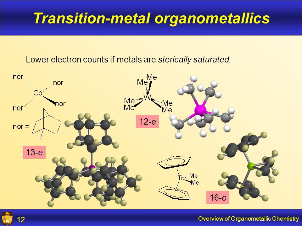 Overview of Organometallic Chemistry 13 Transition-metal organometallics Often ligands capable of donating 2-8 electrons Preference for  -system ligands (good overlap with d-orbitals) Bonding to neutral ligands (olefin/diene/CO/phosphine) relatively weak Important for catalysis!