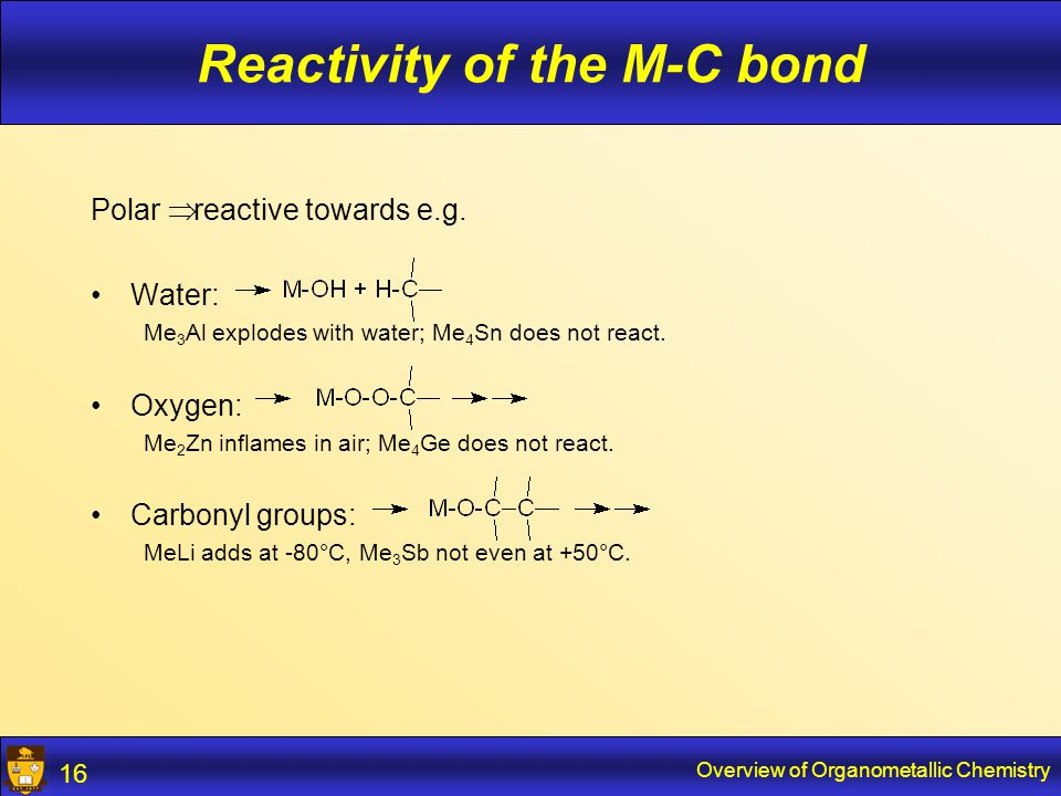 Overview of Organometallic Chemistry 17 Reactivity of the M-C bond Oxidation and hydrolysis: large driving force Bond strengths in kcal/mol: Al-C65As-C55Si-C74 Al-O119As-O72Si-O108 Al-Cl100Si-Cl91